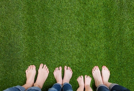39571408 - family legs standing on green grass